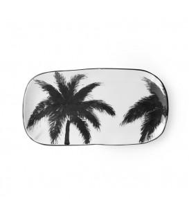 Plat rectangulaire en céramique blanche et Palmiers noirs - HK Living