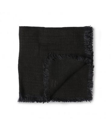 Set de 2 serviettes de table en lin noir anthracite finition frangée - HK Living
