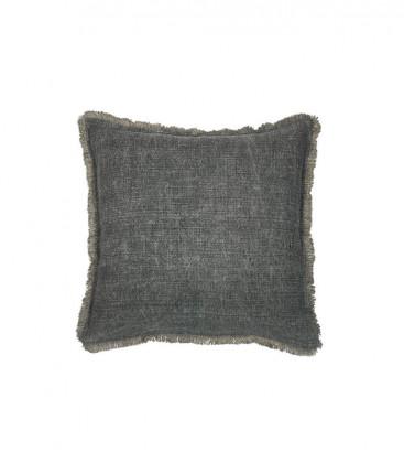 Housse de coussin en lin noir finition frangée 60x60 HARUR - Dareels