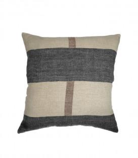 Housse de coussin en lin brut coloris Noir et naturel CHALYA - Dareels