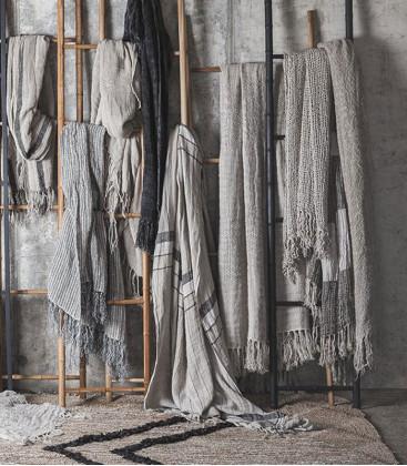 Plaid en lin tissage grosses mailles ajourées couleur naturel HAMPI - Dareels