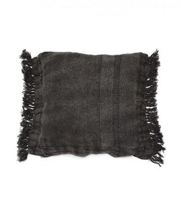 Housse de coussin XL en lin épais brut couleur noir 70x80 WRINKLES - Dareels