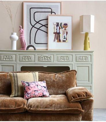 Coussin complet en lin beige foncé 45cmx45cm - HK Living
