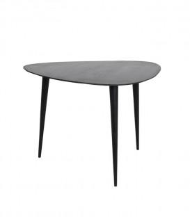 Table basse ovale en bois noir mat - Impression Lin